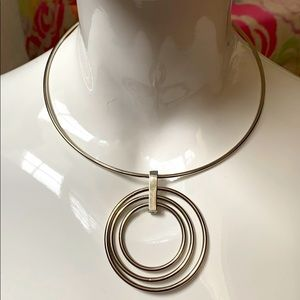 New York & Company Silver Triple Circle choker